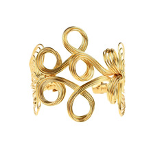 1 Pc Vintage Flower Pattern Iron Cuff Bracelet Hollow Out Bangle For Women Retro Metal Gold Open Bangle Fashion Jewelry