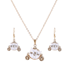 New Fashion Sweet Metal Love princess White pumpkin Jewelry Sets With Necklace Earring For Gift Wholesale Jewelry