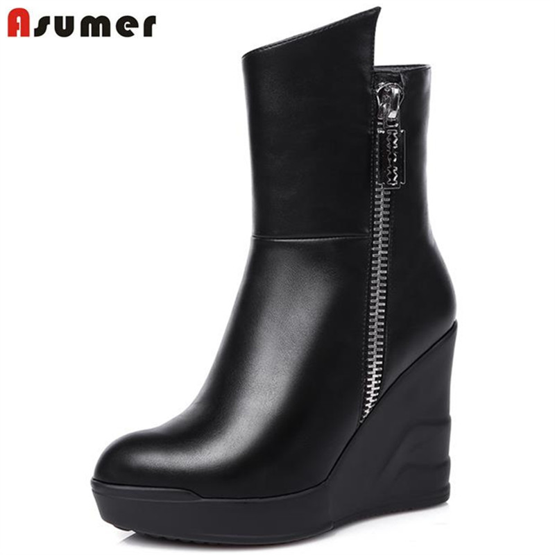 Unique new arrival leisure black soft leather high wedges heel ankle boots round toe chunky platform mature women boots<br><br>Aliexpress