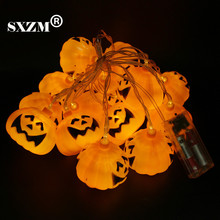 SXZM 3.5 Meter 16 LED Pumpkin Fairy String battery operated for Halloween Lighting Garden Party Christmas Decoration