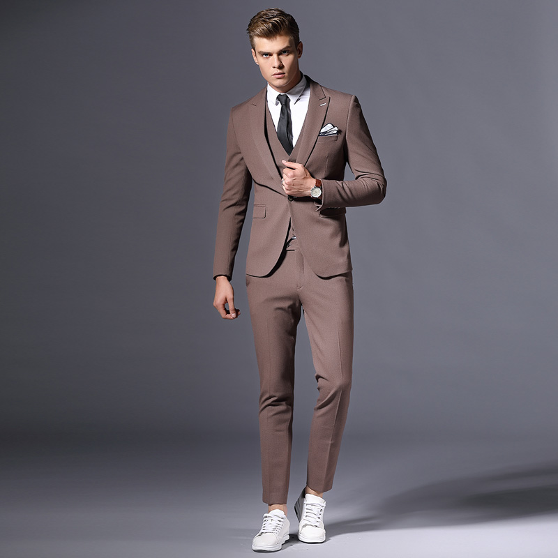 37.1 Fashion classic single button Slim Men\'s suit formal business suit three-piece suit and men\'s best man dress fine custom made