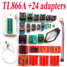 TL866A programmer +24 adapters High speed TL866 AVR PIC Bios 51 MCU Flash EPROM Programmer Russian English manual