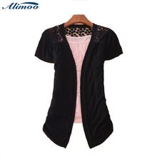 Alimoo Fashion Autumn Women Short Sleeve Cardigans Multi Colors Ladies Lace short Crochet Knit Blouse Sweater Cardigans