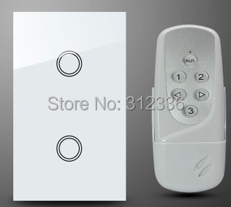 Free shipping 120MM 2PCS/LOT=1PC Switch+1PC Remote Control wall switch Glass touch switch panel 2 gang 1 way  tempering glass<br>
