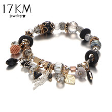 17KM Vintage Boho Jewelry Flower TasselBracelets & Bangles For Women Femme Beads Charm Crystal DIY Love Bracelet Bijoux Ethnic