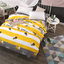 100% cotton white yellow stripe duvet covers summer cartoon bees twin full queen king size children blanket cover quilts case(China)