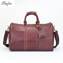 "Women vintage genuine leather travel duffel 18"" Glossy cow leather travel bag Boston Weekend shoulder bag Big capacity tote bag(China)"