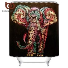 BeddingOutlet Elephant Shower Curtain Colorful Printed Polyester Boho Bath Curtains for Bathroom 180x180cm With Hooks