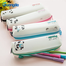 Guangbo kawaii Cartoon panda Pencil Case cat School Supplies Stationery Gift Estuches Cute Pencilcase Box student student Pencil(China)