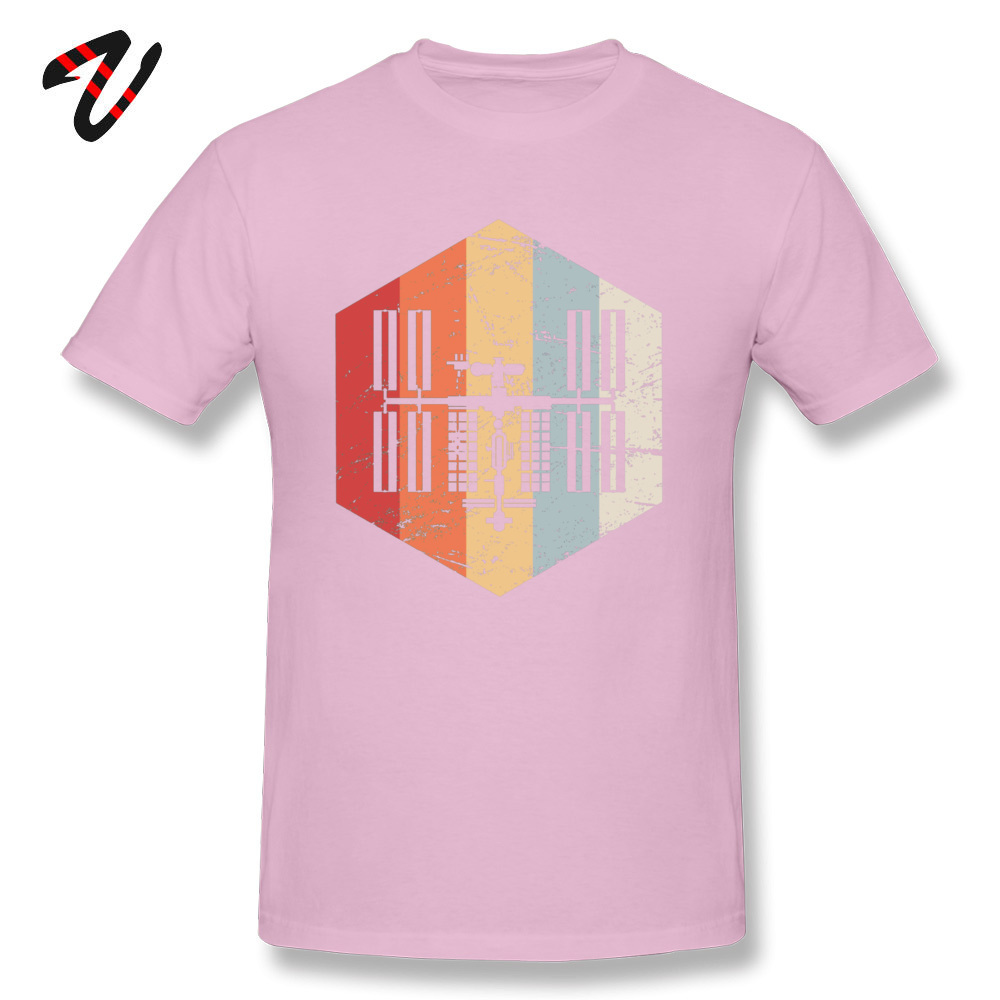 Printed On _black T Shirt Hot Sale Short Sleeve Men T Shirts TpicOriginaltitle Fitness Tight Summer Autumn Tops Shirt Crew Neck Retro ISS International Space Station Icon 19 pink