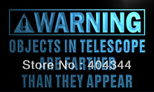 LZ050- Warning Thing in Telescope are farther Neon Sign    home decor shop crafts