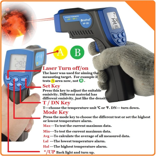 HoldPeak HP-320 Infrared Thermometer Non Contact Digital Thermometer Gun with Laser<br><br>Aliexpress