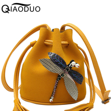 QIAODUO 2017 Women Messenger Bags Good Quality Women Bag Bucket Ladies Clutches Dragonfly Cross-body Bags For Women A1358/g(China)