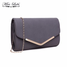 Miss Lulu Women Clutch Purse Celebrity Envelope Evening Party Hand Bag Fashion PU Leather Grey Cross Body Shoulder Bag LH1756