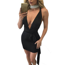YJSFG HOUSE Sexy 2017 Women Hollow Out Bodycon Bandage Short Club Desses Summer Ladies Sleeveless Backless Party Dress Black
