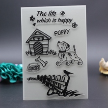 10x15CM Clear Stamp happy puppy happy life dog DIY Scrapbook Card embossing stencil template transparent roller stamp(China)