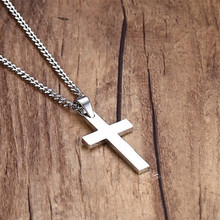 Fashion Punk Male Black Cross Pendant Silver Gold Black Stainless Steel Jesus Cross Pendant Necklace Jewelry For Cool Men Gift(China)