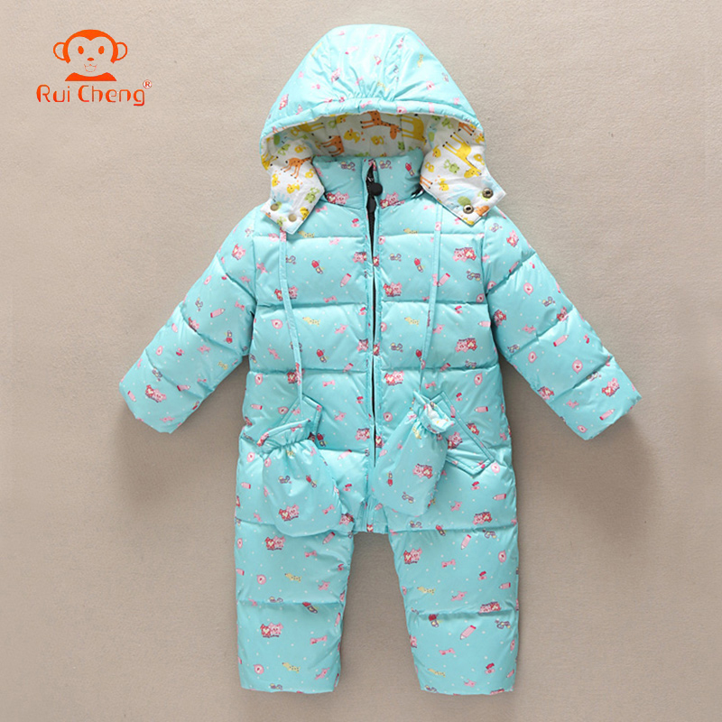Winter Children Jumpsuit Baby Girls Boys Hooded Toddler one-pieces Snowsuits Thick Duck Down Coats Kids Overalls Warm Outerwear<br>