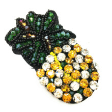 6pc 8x4cm Sew On Crystal Pineapple Patch Beaded Ananas Applique Fruit Patches For Clothing Shoes Bags Parches DIY AC0978