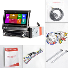 Universal Car Single Din DVD Radio Player Manual Telescopic Screen GPS Navigation Map MP3/MP4/MP5 Card Inserting Machine(China)