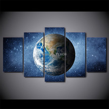 Free Shipping 5 Pieces Blue Earth Printed Canvas Painting Living Room Wall Art Space Universe Stars Pictures No Framed(China)