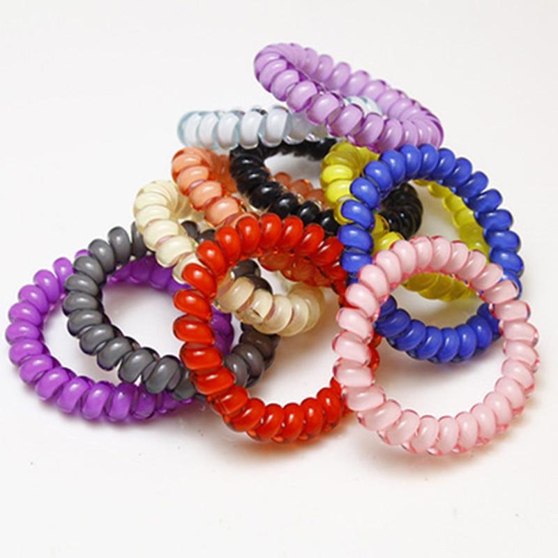 10 PCS Elastic Telephone Wire Cord Head Ties Hair Band Rope Ponytail JewelrF ar