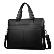 Discounted Large Capacity Cow Leather Briefcases for Men New Fashion Brand Portfolio Laptop Bags(China)