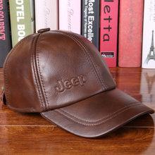 2018 nuevo sombrero de cuero genuino de piel de vaca para hombre Otoño  Invierno Casual gorra de béisbol de mediana edad para hom. c4704ae8f03