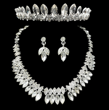 Women jewlery set pageant wedding crystal jewelry sets bride bridal rhinestone crown necklace earring set 1set/lot
