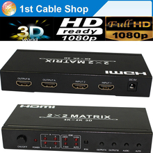 HDMI matrix 2X2 HDMI Switcher splitter with remote control 3D&full HD1080p supported(China)