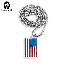 Gold Color Alloy American Flag Necklaces USA Patriot Freedom Stars and Stripes Dog Tag Pendant Necklace Gift Men Women Jewelry(China)
