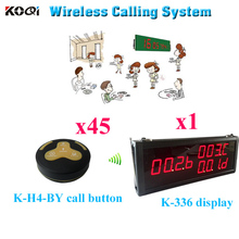 Valet Paging Systems Waiter Restaurant Wireless Ordering Equipment For Hotel Clinic (1 display 45 call button)(China)