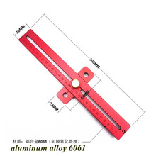 1Pc Carpenter wood worker Aluminum Alloy scribing ruler woodworking T type hole ruler marking tool