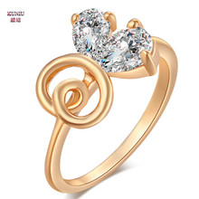 KUNIU 2017 Hige Quality Party Engagement Ring Bling Double Zircon Crystal Anillo  Rings Party Ring Jewelry For Women