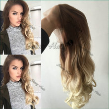 Brown Blonde Ombre Lace Front Wig Synthetic Glueless Balayage Blonde Long Wigs For White Women Heat Resistant Synthetic Lace Wig