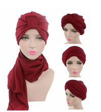 New luxury Women Multi Function Hijab Turban Head Wrap Extra Long Cotton Tube Headwrap Scarf Tie(China)