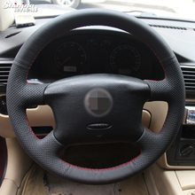 Shining wheat Hand-stitched Black Leather Steering Wheel Cover for Volkswagen Passat B5 VW Passat B5 VW Golf 4