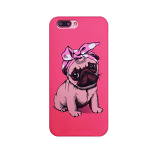 2017 The Newest Fashion cartoon animals rose polka dot bow bulldog pet dog cactus imd soft tpu cell phone case cover For Iphone