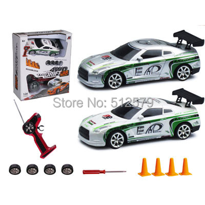 Remote Control Mini Size electric 1:24 high speed 4 wheel drive RC drift Speed Race car with lights(China (Mainland))