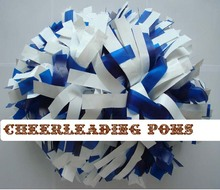 "cheerleading Pom poms 3/4""x 6""~custom color metallic whit and plastic royal blue  handmade new hot sale"