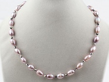 9-10mm Purple Freshwater Pearl and grey crystal Beads Necklace