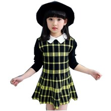 Free Shipping 2017 new autumn fashion sweet plaid sweater dress girl 2 color 110-160cm(China)