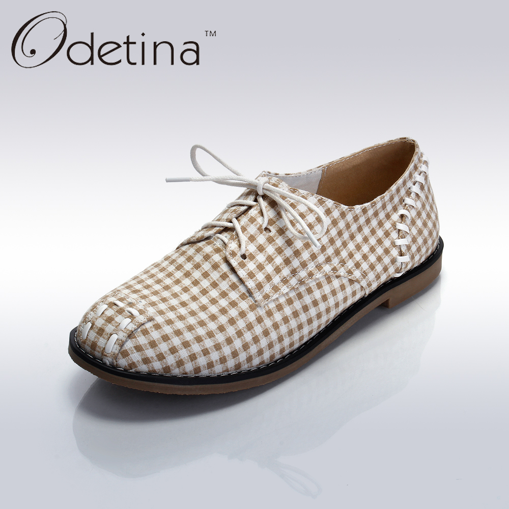 Odetina 2017 New Spring Autumn Larger Size Women Flat Casual Shoes Lace Up Plaid Loafers Comfortable Fashion Cloth Shoes Ladies<br><br>Aliexpress