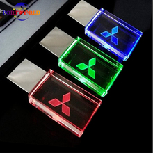 Crystal Glass USB 8GB 16GB Pen Drive LED Light 2.0 USB Stick 32GB Flash Drive with Mitsubishi Car Logo