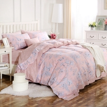 100% Cotton Floral Printed King Queen Pink French Coconut Button Duvet Cover Set with 1 Duvet cover 1 bed sheet  2 Pillowcases