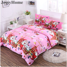 2017 3D Merry Christmas Bedding Set Duvet Cover Gifts Pink Digital Transfer Queen Weave Beauty(China)