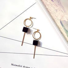 Simple elegant temperament Long eardrop geometry studs party gift girl act the role ofing is tasted(China)