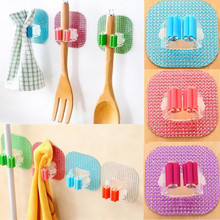1PC Cleaning Chic Pop Hot New Hook Cartoon Crystal Sweep Broom Holder Mop Pole Clip Handle Suction Cup