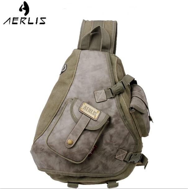 Aerlis Brand Man Canvas Shoulder Bags Chest Sling Pack Handbags Single Man Chest Casual Travel Military Messenger Bag<br>