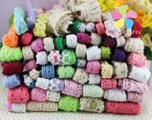 Lucia Crafts Random 12 yards/lot,1yard/pc quality  cotton lace trim gorgeous random colors/size 17010003(HS12y)